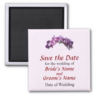 Two-Toned Magenta Orchids Save the Date 2 Inch Square Magnet