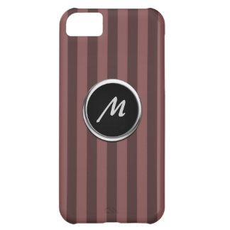 Two-Toned Maroon Stripe Monogram Case For iPhone 5C