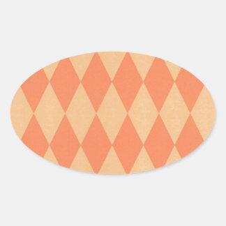 Two Toned Orange Harlequins Oval Sticker