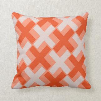 Two Toned Orange Xs Throw Pillow