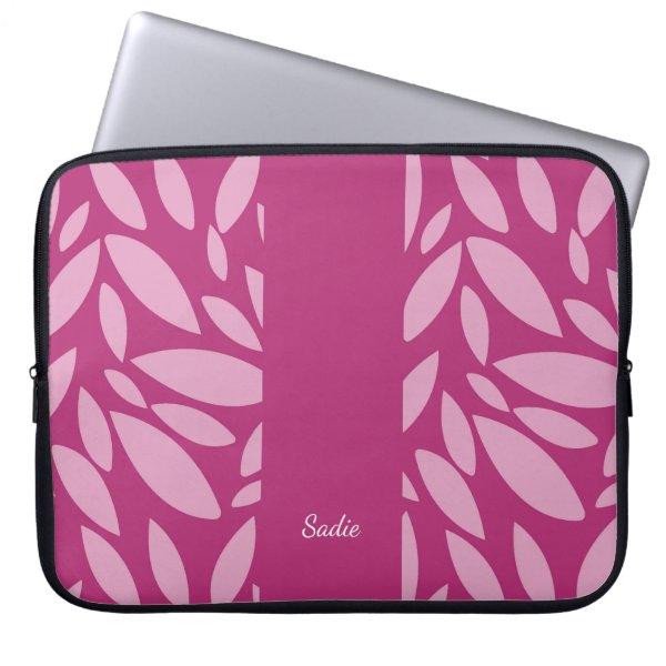 Two toned pink leaf pattern Monogram Laptop Sleeve