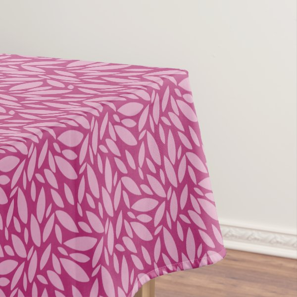 Two toned pink leaf pattern tablecloth