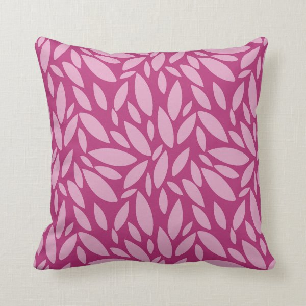 Two toned pink leaf pattern throw pillow