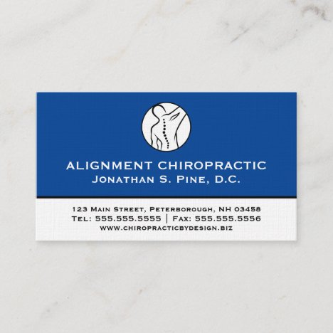 Two-Toned Professional Chiropractic Business Cards