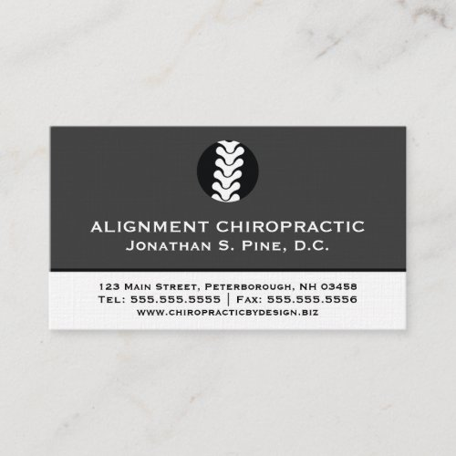 Two-Toned Professional Chiropractor Business Cards