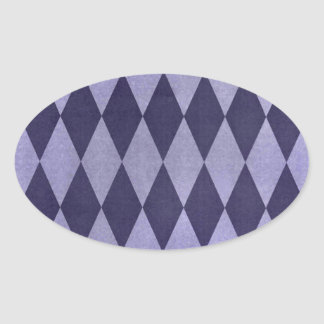 Two Toned Purple Harlequins Oval Sticker