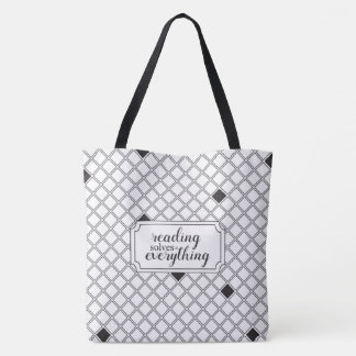Two Toned Reading Solves Everything Tote Bag