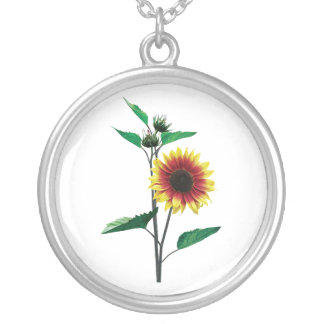 Two Toned Sunflower Round Pendant Necklace