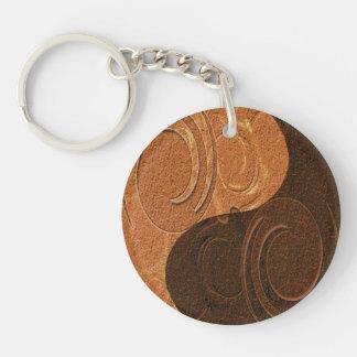 Two Toned Tan Yin Yang Symbol Single-Sided Round Acrylic Keychain