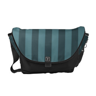 Two-Toned Teal Stripe Courier Bag