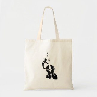 Two Toned Upright Bass Player Outline BW Tote Bag