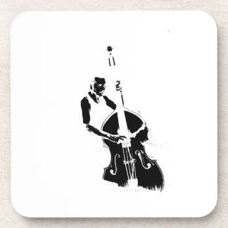 Two Toned Upright Bass Player Outline BW Beverage Coaster