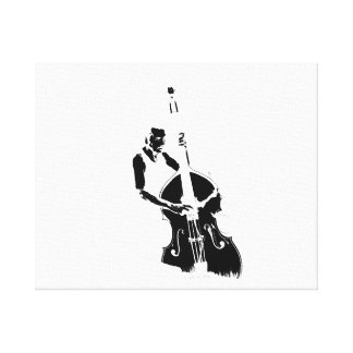 Two Toned Upright Bass Player Outline BW Canvas Print