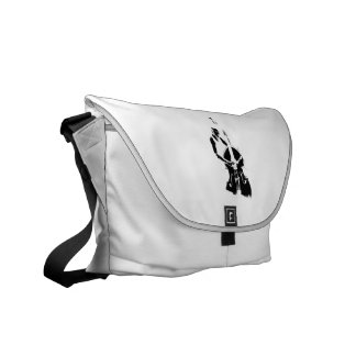 Two Toned Upright Bass Player Outline BW Courier Bag