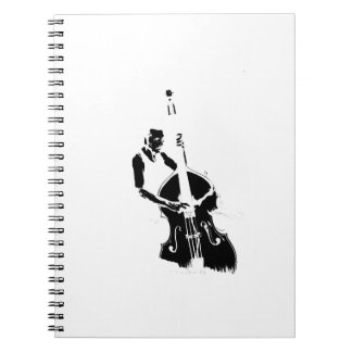 Two Toned Upright Bass Player Outline BW Notebook