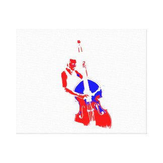 Two Toned Upright Bass Player Outline Red Blue Canvas Print