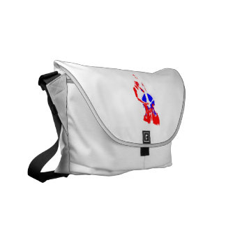 Two Toned Upright Bass Player Outline Red Blue Courier Bag