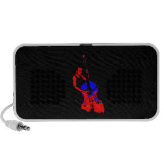 Two Toned Upright Bass Player Outline Red Blue iPhone Speakers