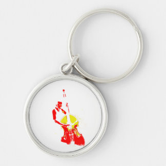 Two Toned Upright Bass Player Outline Red yellow Keychain