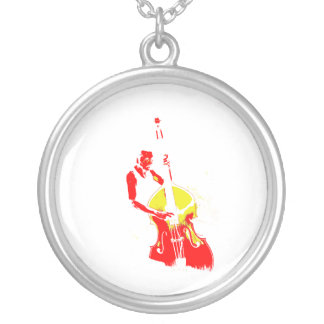 Two Toned Upright Bass Player Outline Red yellow Necklaces