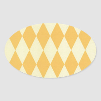 Two Toned Yellow Harlequins Oval Sticker