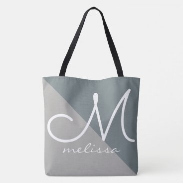two tones of gray large tote bag with name