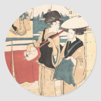 Two Tori-oi, or Itinerant Women Musicians Japan Classic Round Sticker