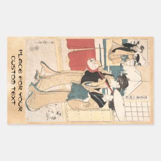 Two Tori-oi, or Itinerant Women Musicians Japan Rectangular Sticker
