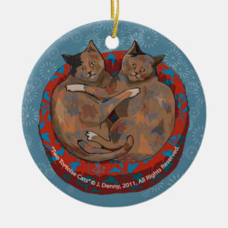 Two Tortoise Shell Cats... Ceramic Ornament