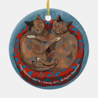 Two Tortoise Shell Cats... double sided Ceramic Ornament