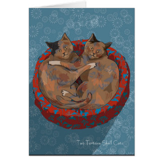 Two Tortoise Shell Cats... Holiday Card