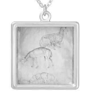 Two tortoises, goat and sheep silver plated necklace
