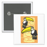 Two Toucans and Tiki 2 Inch Square Button