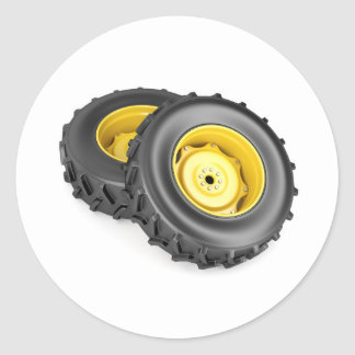 Two tractor wheels classic round sticker