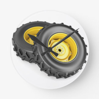 Two tractor wheels round clock