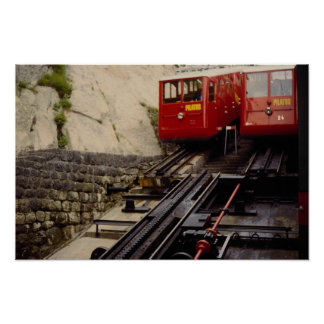 Two trains at bottom station, Mt. Pilatus, Switzer Posters