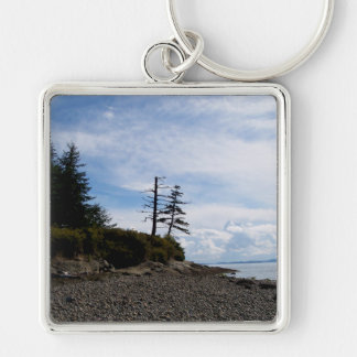 Two Tree Point Silver-Colored Square Keychain