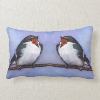 Two Tree Swallows With Wide Open Beaks: Oil Pastel Throw Pillow
