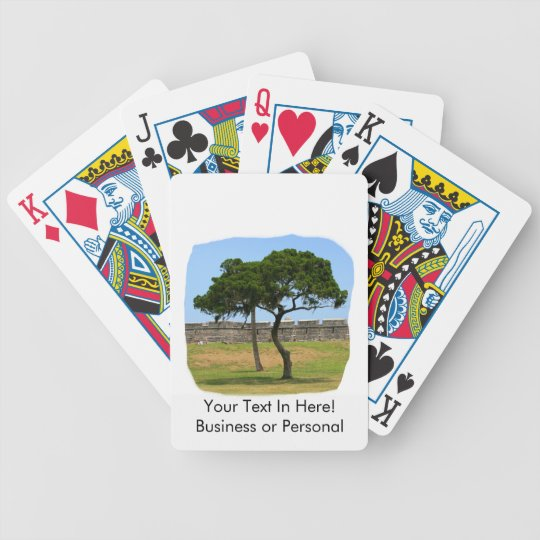 Two trees and castle walls bicycle playing cards