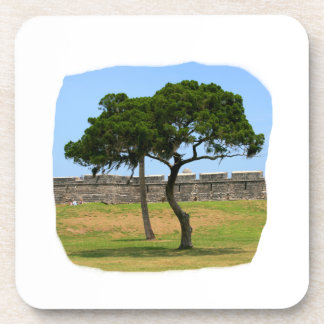 Two trees and castle walls coaster