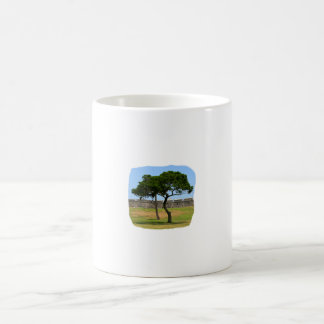 Two trees and castle walls coffee mugs