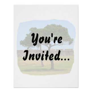 Two trees and castle walls custom invitation