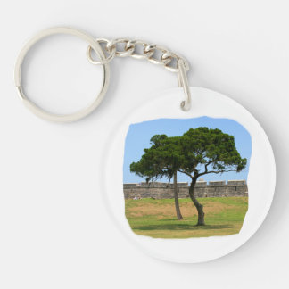 Two trees and castle walls Double-Sided round acrylic keychain