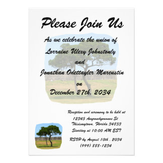 Two trees and castle walls personalized announcement