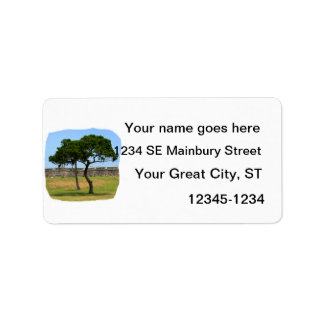 Two trees and castle walls personalized address label
