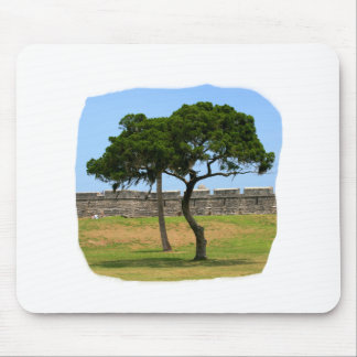 Two trees and castle walls mouse pads