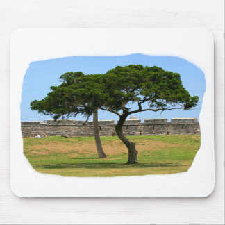 Two trees and castle walls mousepads
