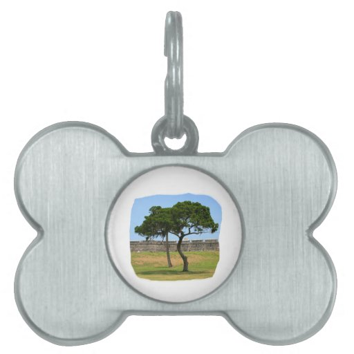 Two trees and castle walls pet name tags