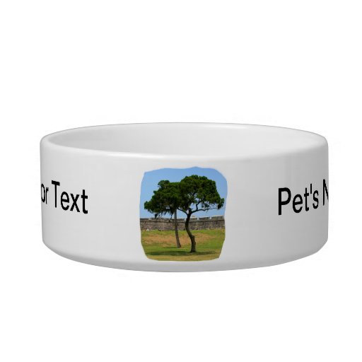 Two trees and castle walls pet water bowls