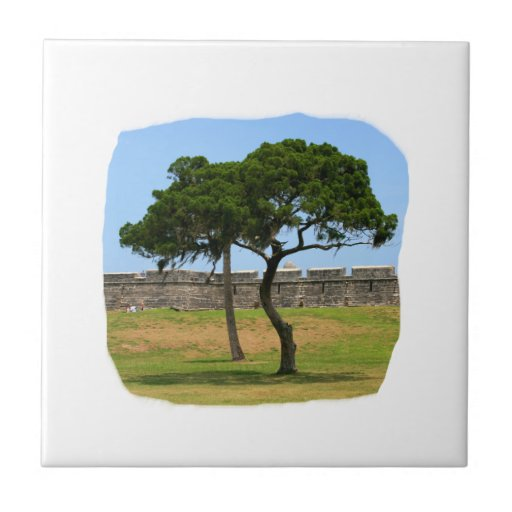 Two trees and castle walls small square tile